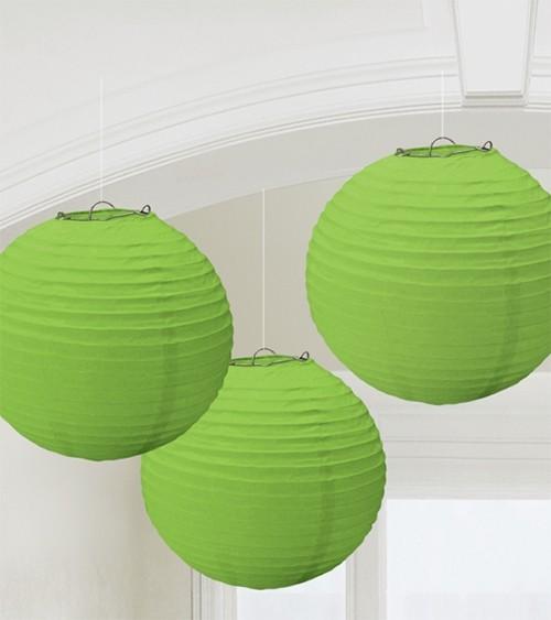 Lampion-Set - 3-teilig - 24 cm - hellgrün