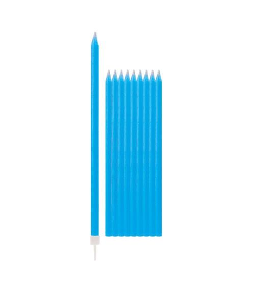 Lange Kuchenkerzen - blau - 15,5 cm - 10 Stück