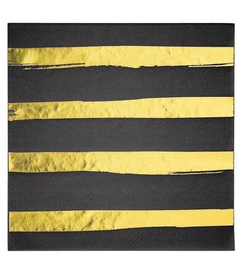 Servietten - schwarz/gold - 16 Stück