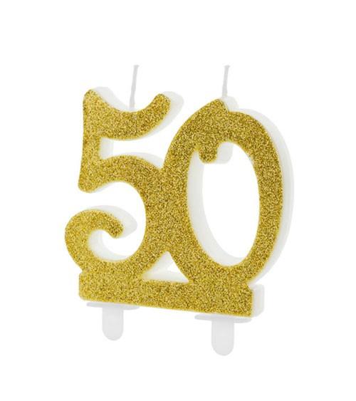 """Script-Zahlenkerze """"50"""" - glitter gold - 7,5 cm"""