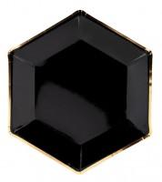 Sechseckige Pappteller - schwarz/gold - 6 Stück
