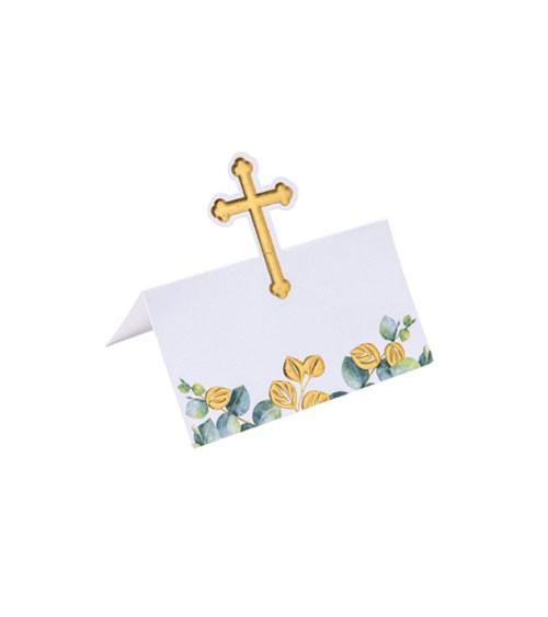 Platzkarten mit goldenem Kreuz & Eukalyptus - 10 Stück