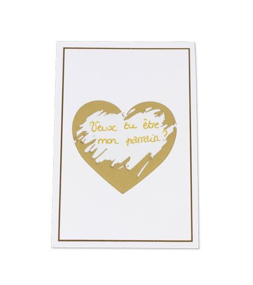 Karten mit Rubbel-Herzen & Umschlägen - weiß - 5 Stück