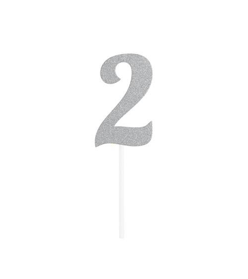 """Kuchen-Topper-Zahl aus Pappe """"2"""" - glitter silber - 4,5 x 8 cm"""