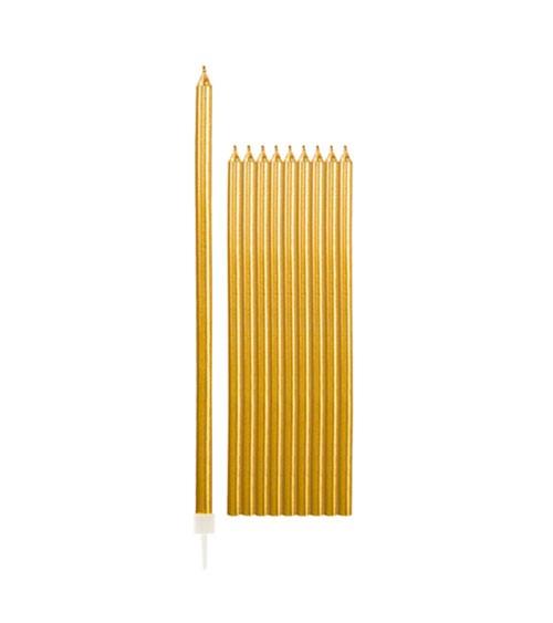 Lange Kuchenkerzen - metallic gold - 15,5 cm - 10 Stück