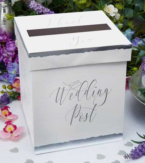 """Hochzeits-Kartenbox """"Dipped in Silver"""" - 21 x 24,5 cm"""