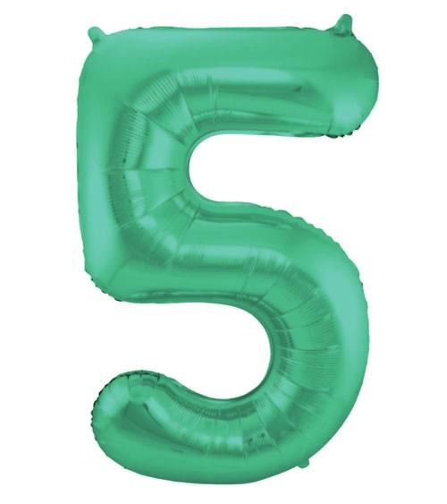 """Zahl-Folienballon """"5"""" - matt grün - 86 cm"""
