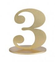 "Zahl aus Holz ""3"" - gold - 12 x 16 cm"