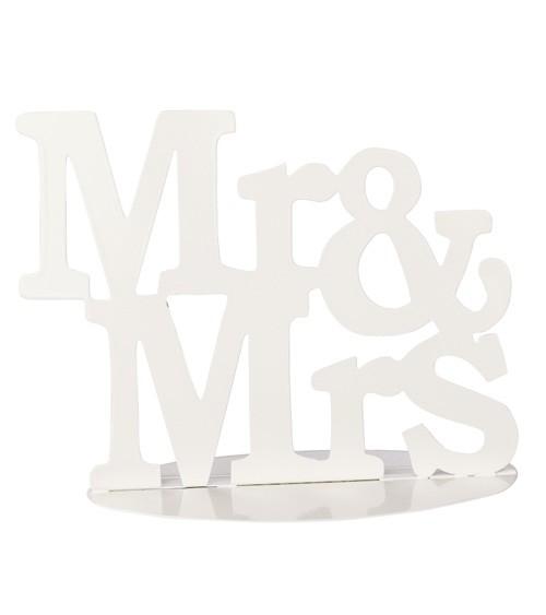 Mr & Mrs Deko aus Metall - weiß - 15 x 12 cm