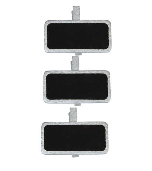 Mini-Kreidetafel mit Klammer und Rand - silber - 12 Stück