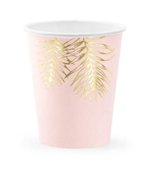 Pappbecher mit goldenen Palmblättern - rosa - 6 Stück