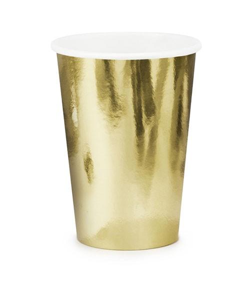 Kleine Pappbecher - metallic gold - 6 Stück