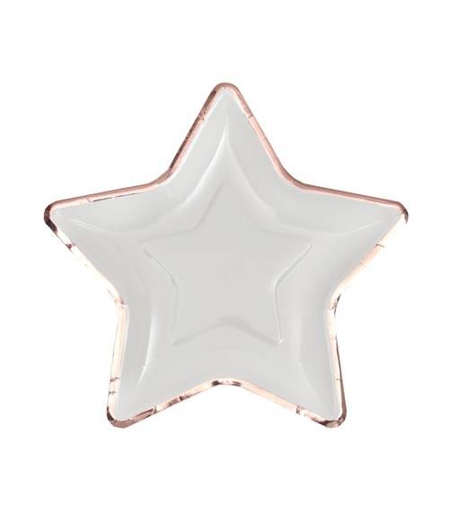 Kleine Stern-Pappteller mit rosegoldenem Rand - weiß - 10 Stück