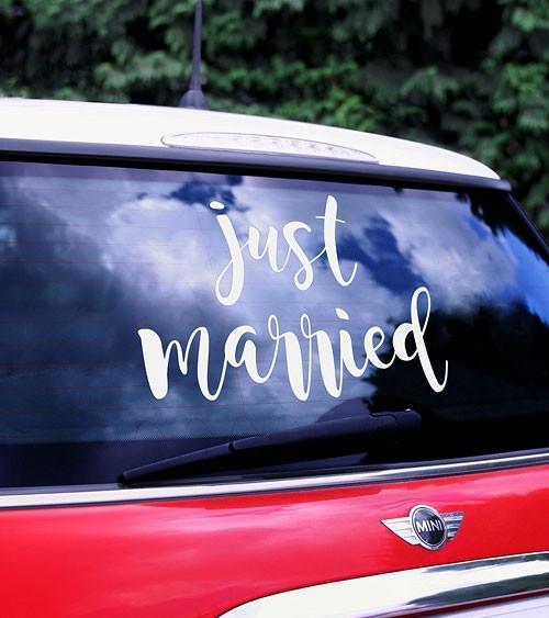 """Sticker für das Hochzeitsauto """"Just Married"""""""