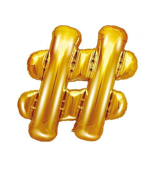 """Folienballon Zeichen """"#"""" - gold - 35 cm"""