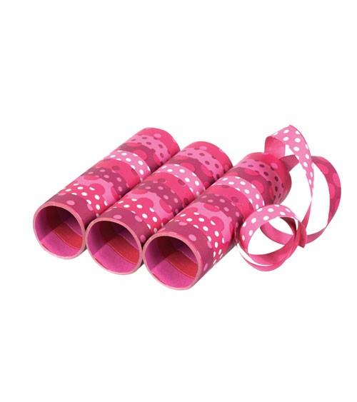 Papierluftschlangen mit Punkten - rosa/pink - 3 Stück