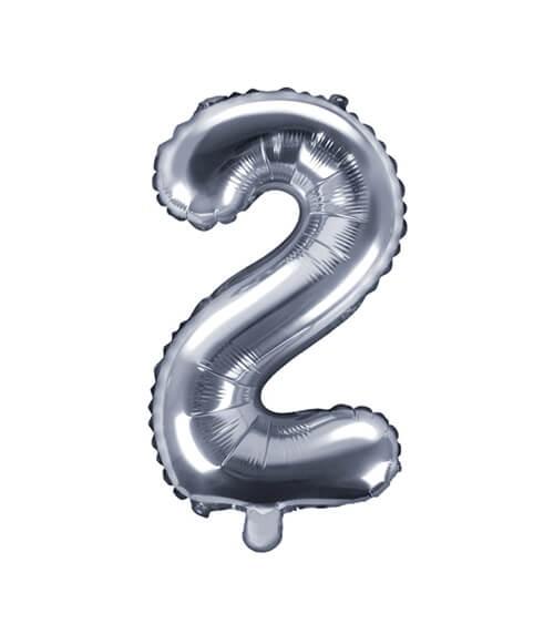 """Folienballon Zahl """"2"""" - silber - 35 cm"""