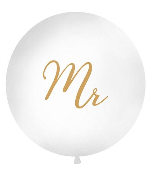 "Riesenballon ""Mr"" - weiß/gold - 1 m"