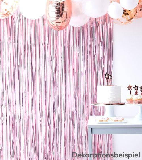 Fransenvorhang - rosa metallic - 1 m x 2,5 m