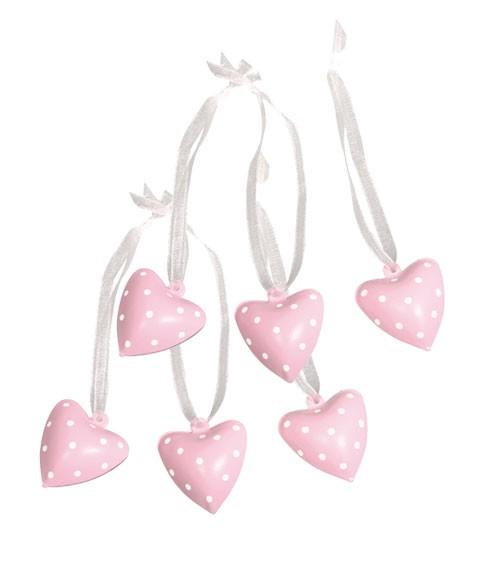 Herz-Glöckchen aus Metall - rosa - 6 Stück