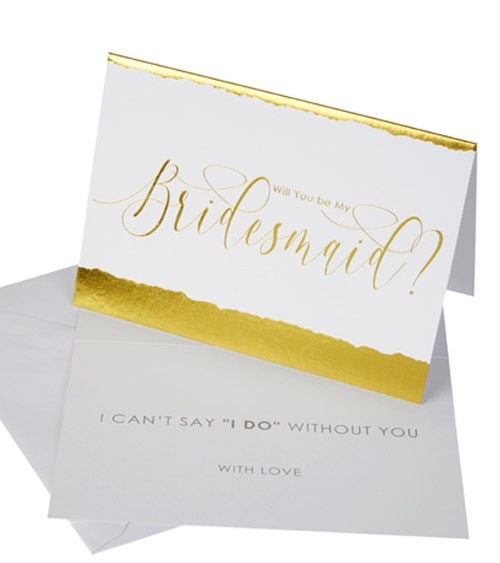 "Will you be my Bridesmaid-Karten ""Dipped in Gold"" - 3 Stück"