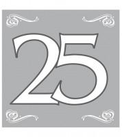"""Servietten """"25"""" - silber - 20 Stück"""