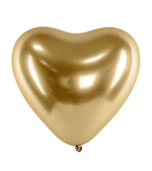 Glossy-Herz-Luftballons - gold - 50 Stück