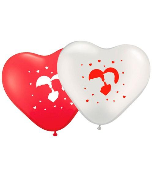 Hochzeits-Herz-Luftballon-Set mit Brautpaar - rot/weiß - 8 Stück