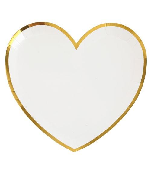 Herz-Pappteller mit goldenem Rand - weiß - 10 Stück