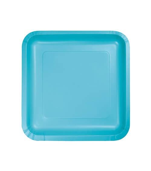 Kleine eckige Pappteller - bermuda blue - 18 Stück