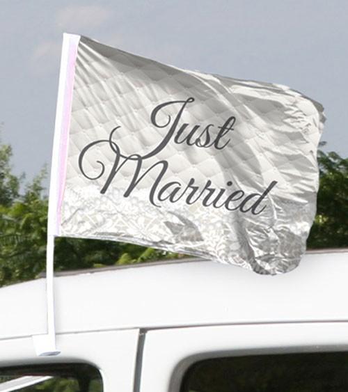 """Hochzeits-Autofahnen """"Just Married"""" - 2 Stück"""