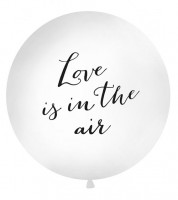"Riesenballon ""Love is in the air"" - weiß/schwarz - 1 m"