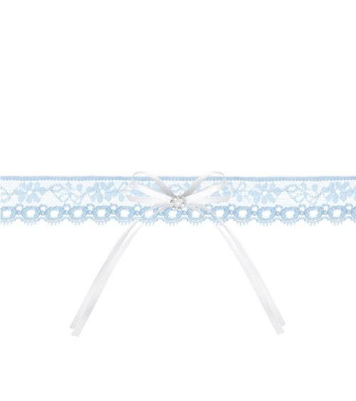 Strumpfband aus Spitze mit Schleife - skyblue