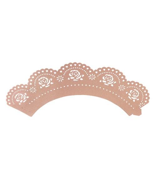 """Cupcake-Wrapper """"Rosen - perlmutt rosa"""" - 12 Stück"""