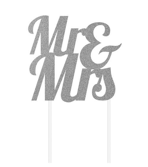 """Kuchen-Topper aus Papier """"Mr & Mrs"""" - glitter silber"""