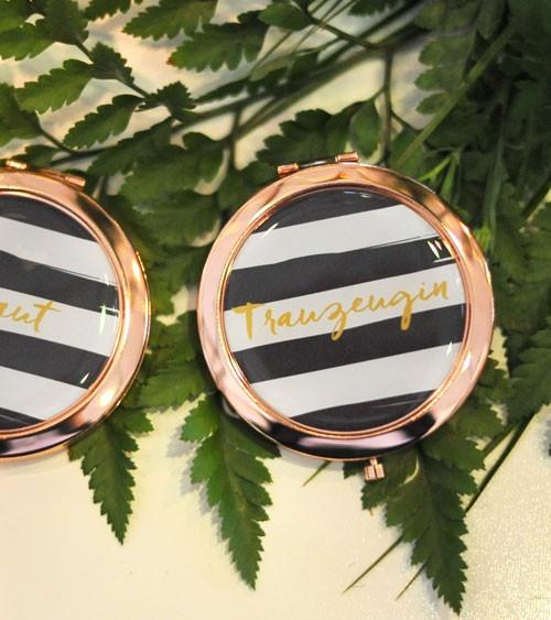"""Taschenspiegel """"Black&White"""" - Trauzeugin - rosegold"""