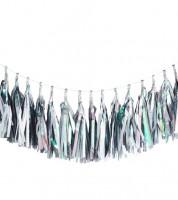 Tassel-Girlande - silber/irisierend - 3 m