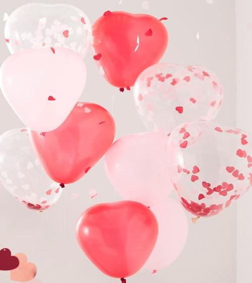 Herz-Luftballon-Set mit Konfetti - pink, rosa, transparent - 10 Stück